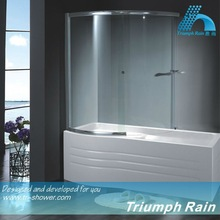 AQSC1502CL tempered glass curved shower screen for bath tub