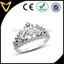 925 Sterling Silver Cubic Zirconia Princess Crown Tiara CZ Band girls crown ring