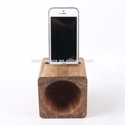 Mini wooden mobile phone loud-speaker