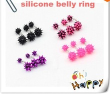 silicone belly button navel ring piercing fancy body jewelry purple soft koosh ball