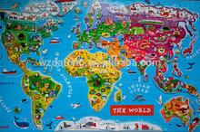 laminato di carta mappa del mondo tappeto puzzle di puzzle magnetico