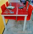 nouvelle mode rouge et noir en verre salle à manger ensembles de meubles à domicile