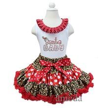 Xmas Red Leopard Polka Dots Pettiskirt Tutu Santa Baby Tank Top Tee Party Dress