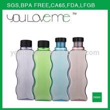 Unique creative wave shape plastic bottle, BPA Free