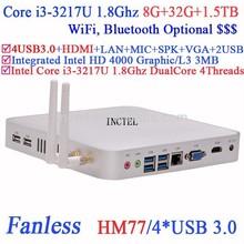 Core i3 mini pc remote pc with Intel 3217U 1.8Ghz USB 3.0 VGA DirectX 11 support 8G RAM 32G SSD 1.5TB HDD Windows or Linux