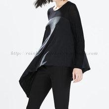 Loose Joint Split Asymmetric Hem Women Blank T-shirt