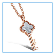Yiwu Aceon New Personality Nature Shell Key Pendent Rose Gold Women Necklace Fashion Korean Jewelry