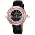 não 9304 fluindo de cristal de ouro no interior de couro geniune pulseira de relógios de diamantes