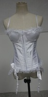 Wholesale cheap Lady Sexy white bridal strap corset top with garter g-string wholesale checkout