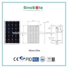 solar power system inmporter high efficiency Solar Energy 65w mono solar panel with TUV/PID/CEC/CQC/IEC/CE