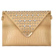E975 china online shopping luxury lady snake envelope crystal handbag