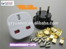 Safe Guangzhou Yuadon produce white and black color 250V UK to Eu conversion plug