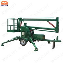 Trailing boom lift/manual lifting mechanism