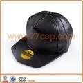 لوحة 5 جلد أسود عادي القبعات snapback