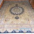 ft 8x10 puro de color amarillo y azul profundo centro de kashan alfombras de seda