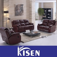 Recliner sectional red leather click clack sofa bed
