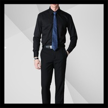 top selling manufacturers in china black men s business shirts 100% cotton with tie