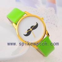Green watch fashionable moustache watch beautiful love gift for girl