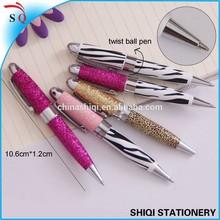 Cute crystal short shinning metal pen for gift