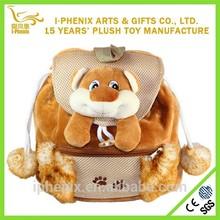 Cute brown dog plush backpack&kids fashion toy plush school bag