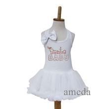 Xmas Baby Rhinestone Santa BABY White Petti Pettiskirt Dress