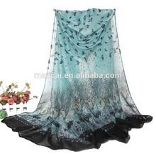 100% viscose scarf with birds printing lady fashion shawl