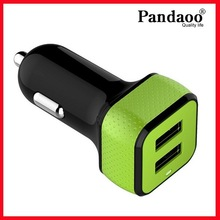 Surface Rubber 5V 2100mA USB Car Charger with dual usb