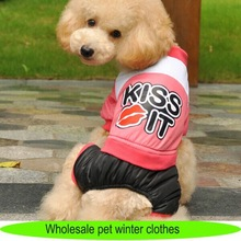 Pet supply 2014 new pet products, leather dog overalls with lip pattern, wholesale dog clothes