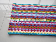 handmade crochet stripe polyester blanket