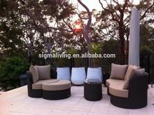 2014 Comfortable Curved Design Garden Sofa 4 pc Sofa Outdoor Wicker Lounge Setting