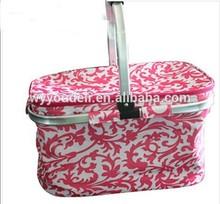 christmas 2014 hot sale two-handle Foldable folding rattan basket with handle and lid storage Basket