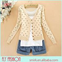 DC219-1# 2014 Hot-Sell Cream Sweet Long Sleeve Heart Pattern Jacquard Women's Knit Cardigan Sweater