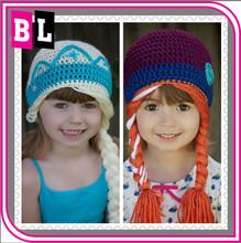 Hot Selling New Arrival Children Birthday Gift Cotton Handmade Knitting Frozen Elsa Hats Wholesale
