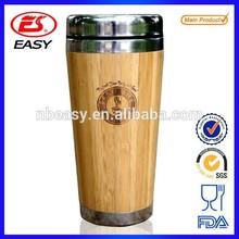Wholesale BPA free bamboo cover double wall bamboo insulation starbucks thermos mug