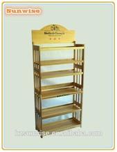 SWR-017 Fashionable design 4 tiers bamboo pet food display rack/shelf