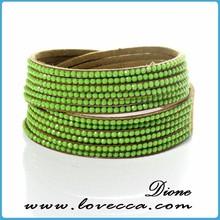 soft comfortable wearing leather crystal rhinestone bracelet resin