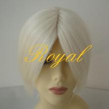 100% short white light color human hair half hand tied half machine made wig/hair
