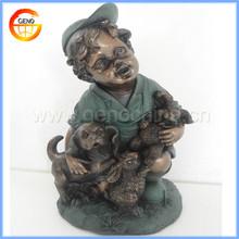 Man-made Bronze boy with ceramic decoration