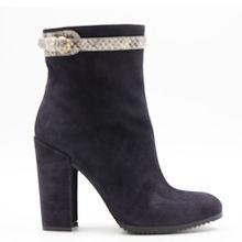 Suede sheepskin snake prints belt chunky heel ankle length boots for women