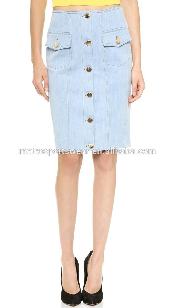 wholesale denim skirt button front pencil skirt
