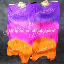 HAND MADE PAIRS 1.5M BELLY DANCE 100% SILK FAN VEILS PURPLE PINK ORANGE belly dance silk fan veil,fan belly dance costume,silk