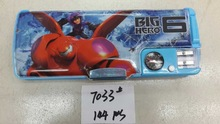 school boys pencil cases big hero baymax printed with compass and sharpener