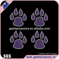 Bulldog pawprints rhinestone iron on transfer bling