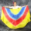 La mitad del círculo de danza del vientre 100% velo de seda de color amarillo azul rojo amarillo danza del vientre velo de seda, danza del vientre traje