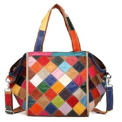 New arrival alibaba italia patchwork leather hand bag shoulder ladies bags EMG3747
