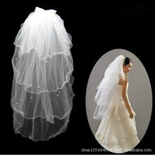 Wholesale bride married yarn veil T14-4 four white fish silk veil curling bow factory outlets