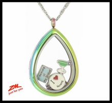 Custom design stainless steel crystal inlay drop shape floating christmas collection pendant