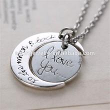 Antique Silver pendant necklace, vintage necklace, alloy pendant