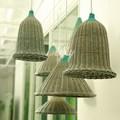 nuevo diseño de artesanías de mimbre lámpara italiano con tonos de color verde en la parte superior