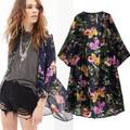 la parte superior 14528 2014 la venta de la moda otoño de estilo occidental de manga larga impreso blusas de mujer